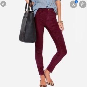 J. Crew High Rise Maroon Velvet Skinny Jeans